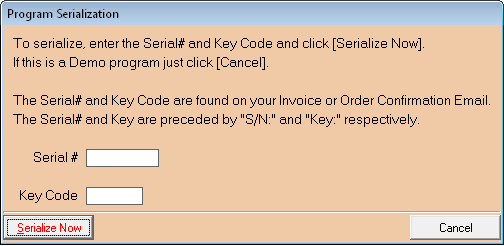 Serial Number Entry Window